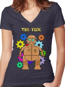 TIK-TOK Of OZ Women's Fitted V-Neck T-Shirt