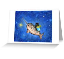 Hanging Stars with a Friendly Narwhal Greeting Card