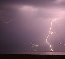 Lightning, Hampshire Coast, UK by Jane Burridge