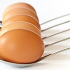 Eggs on spoons by Jérôme Le Dorze