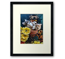 Venus & Di Milo ~ Cute Kitty Cat Kittens in a Flower Pot Playing in Fall Colors Framed Print