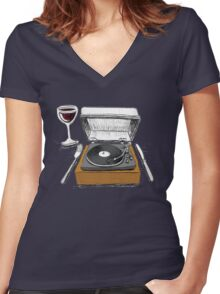 Dinner Music Women's Fitted V-Neck T-Shirt