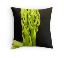 Green asparagus on dark background Throw Pillow