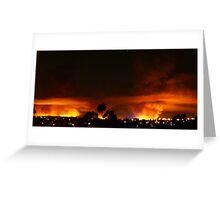 Burning Skyline Greeting Card