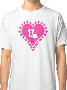 Think Pink Louisiana Fleur de Lis Heart Classic T-Shirt