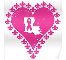 Think Pink Louisiana Fleur de Lis Heart Poster