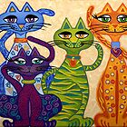 'High Street Cats' - their kind of posh! by Lisa Frances Judd ~ QuirkyHappyArt