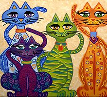 'High Street Cats' - their kind of posh! by Lisa Frances Judd~QuirkyHappyArt