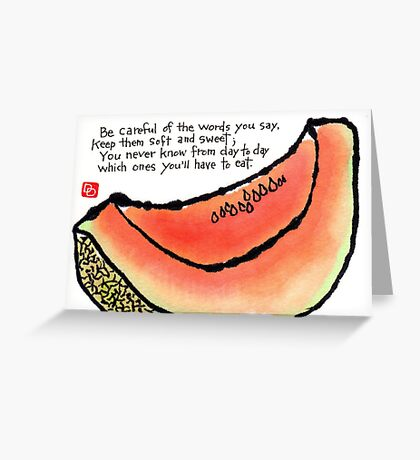 Cantaloupe Words Greeting Card