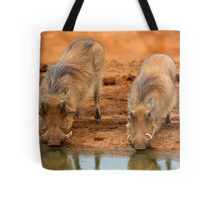 Warthogs At Waterhole Tote Bag