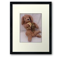 Stuffit is polishing the stoneware today.. good dog. Framed Print