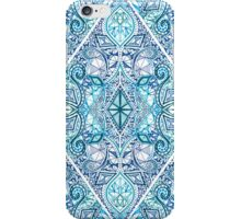 Blue and Teal Diamond Doodle Pattern iPhone Case/Skin