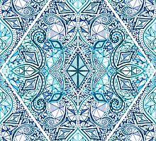 Blue and Teal Diamond Doodle Pattern by micklyn