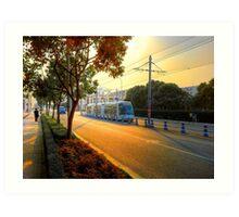 Sunset&Trolley Art Print
