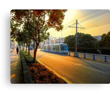 Sunset&Trolley Canvas Print