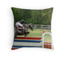 Grand Prix Horse and Rider on Course Throw Pillow