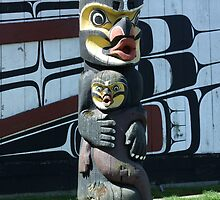Totem in front of B.C. Royal Museum, Victoria, B.C. by RonnieGinnever