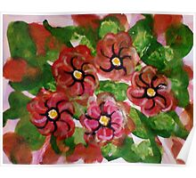 Abstract Floral #2, watercolor Poster