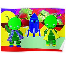 Green Alien Children Welcoming You to Their Home Poster