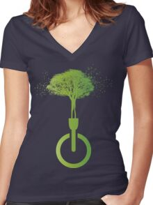 lights OFF life ON Women's Fitted V-Neck T-Shirt