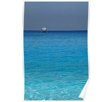 clear blue water and a boat  Poster