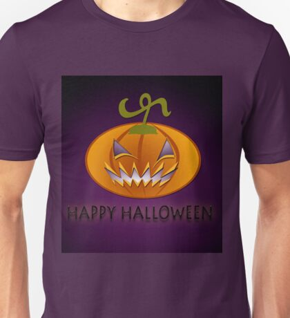 Scary Pumpkin on purple background. Unisex T-Shirt
