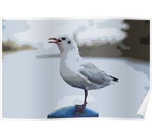 seagull at putney embankment Poster