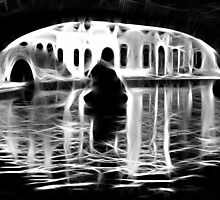 Vanish rowing Boat reflections under a bridge by Francesco Malpensi
