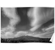 Monchrome  view of Mt. Etna Poster