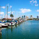 Honolulu Harbor Waikiki by Atanas Bozhikov NASKO