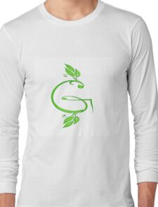 A letter G formed with leaves. Long Sleeve T-Shirt