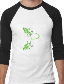 Letter P with leaves Men's Baseball ¾ T-Shirt