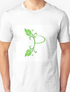 Letter P with leaves Unisex T-Shirt