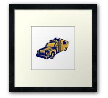Ambulance Emergency Vehicle Truck Woodcut Framed Print