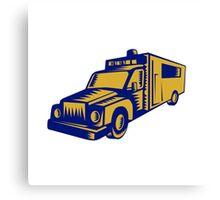 Ambulance Emergency Vehicle Truck Woodcut Canvas Print