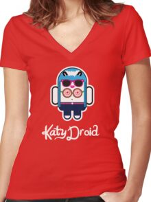 Katy Perry goes Google Android Style! Women's Fitted V-Neck T-Shirt