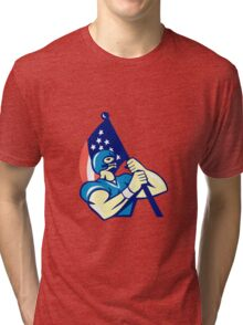 American Football Player Holding Flag Retro Tri-blend T-Shirt