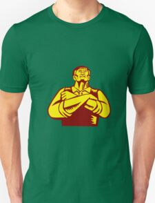 Businessman Arms Crossed Woodcut T-Shirt