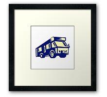 Camper Van Motor Home Woodcut Framed Print