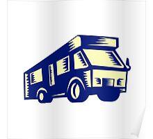 Camper Van Motor Home Woodcut Poster