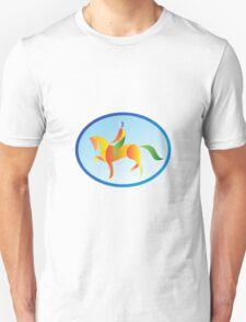 Equestrian Rider Dressage Oval Retro T-Shirt
