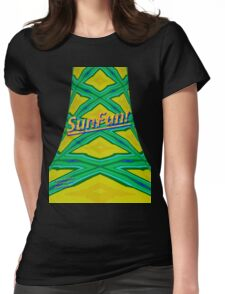 Green Cross-hatched Tie Womens Fitted T-Shirt