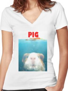 Sea Pig Women's Fitted V-Neck T-Shirt