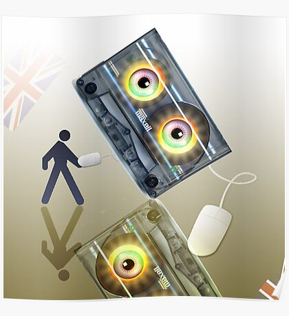 Cassette Tape Analogue Cartoon 4 Poster