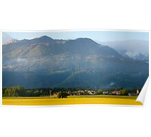 rapeseed field in Brnik with Kamnik Alps and Krvavec ski resort in the background, Slovenia Poster