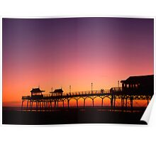 Sunset over Lytham pier, Lancashire Poster