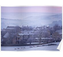 Winter dawn over Haworth, West Yorkshire. Poster
