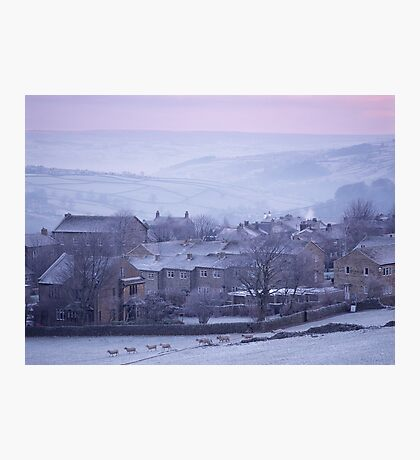 Winter dawn over Haworth, West Yorkshire. Photographic Print