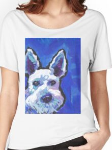 White Schnauzer Bright colorful pop dog art Women's Relaxed Fit T-Shirt