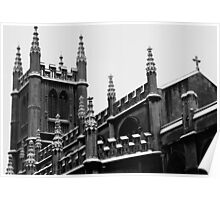 Snowy Church in Bath, England Poster